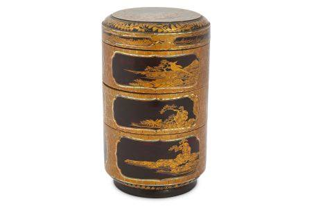 AN INLAID LACQUER JUBAKO. Edo period, 17th Century. A three-tiered Jubako (food container) and a