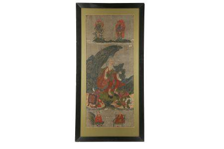 A FRAMED PAINTING OF ENNO GYOJA. Edo period. Painted in ink, colour and gofun on silk, depicting the