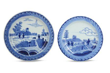 TWO ARITA DISHES. Edo period (18th century). Each decorated in underglaze blue in the manner of
