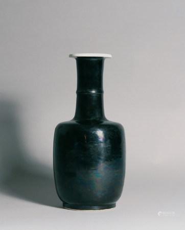清康熙 黑釉紙槌瓶