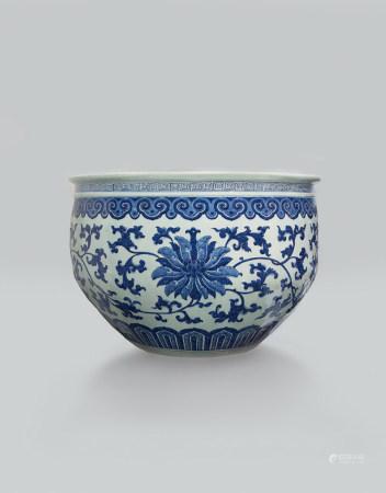 清中期 青花寶相花花卉紋大缸