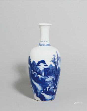 清康熙 青花山水人物故事萊菔瓶
