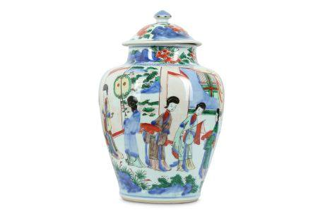 A CHINESE WUCAI 'LADIES' BALUSTER VASE AND COVER.