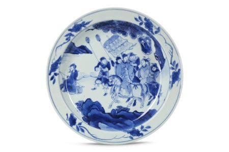 A CHINESE BLUE AND WHITE 'JIANG ZIYA' DISH.