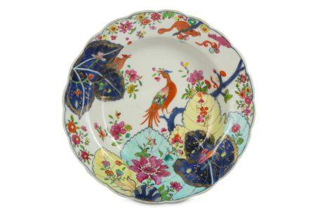 A CHINESE FAMILLE ROSE 'TOBACCO LEAF' SOUP DISH.