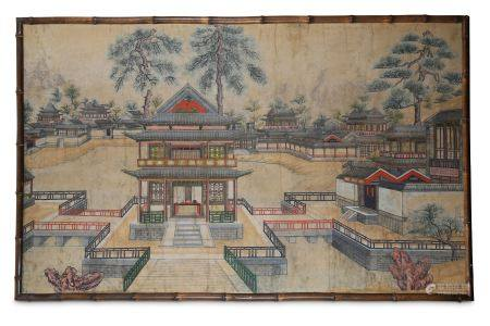 A LARGE CHINESE GOUACHE-ON-PAPER PAINTING OF PALACE PAVILIONS.