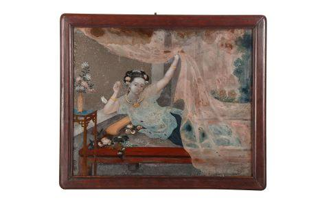 A CHINESE REVERSE GLASS EROTIC PAINTING.