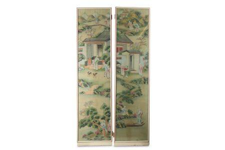 A PAIR OF CHINESE SILK WALLPAPER PANELS.