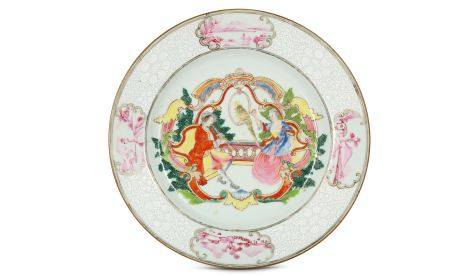 A CHINESE FAMILLE ROSE EUROPEAN SUBJECT DISH.