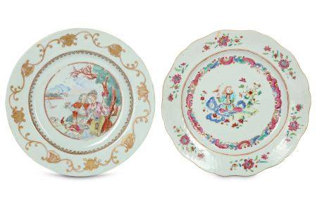TWO CHINESE FAMILLE ROSE 'EUROPEAN SUBJECT' DISHES.