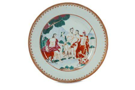 A CHINESE FAMILLE ROSE 'JUDGMENT OF PARIS' DISH.
