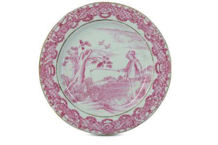 A CHINESE FAMILLE ROSE 'LE PÊCHEUR' DISH.