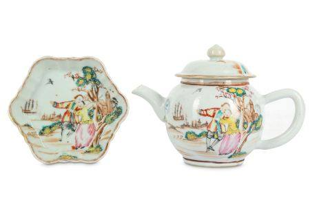 A CHINESE FAMILLE ROSE TEAPOT, COVER AND STAND.
