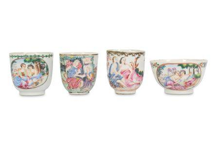 FOUR CHINESE FAMILLE ROSE CUPS.