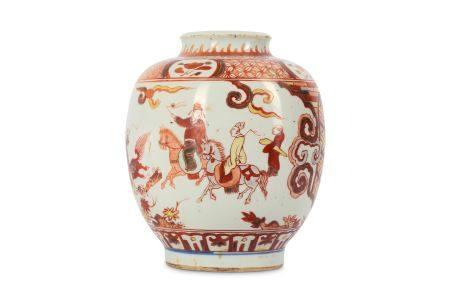 A CHINESE COPPER RED FIGURATIVE JAR.