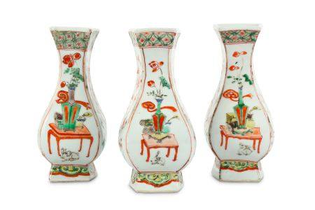 THREE CHINESE FAMILLE VERTE WALL VASES.