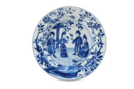 A CHINESE BLUE AND WHITE 'SENSE OF SMELL' SAUCER.