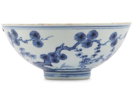 A CHINESE BLUE AND WHITE 'THREE FRIENDS OF WINTER BOWL.