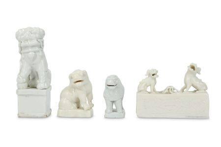 FOUR CHINESE BLANC-DE-CHINE ANIMALS.