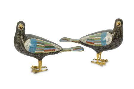 TWO CHINESE CLOISONNÉ ENAMEL BIRDS.