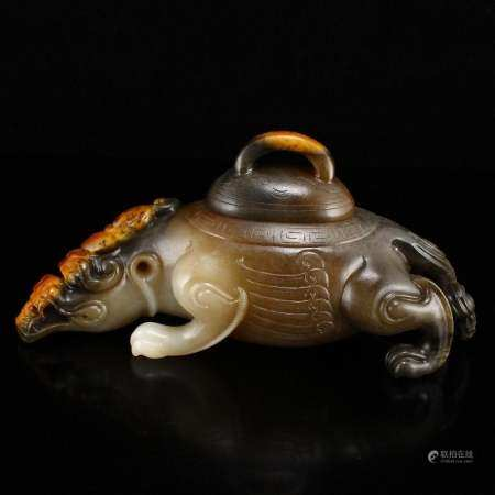 Superb Chinese Natural Hetian Jade Fortune Beast Burner