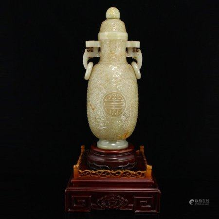 Superb Low Relief Hetian Jade Clouds Design Vase