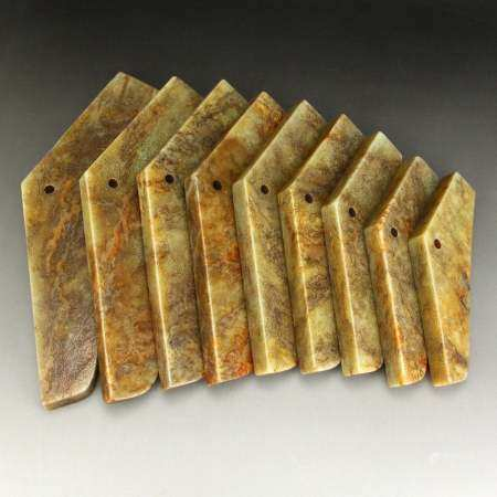Set 9 Superb Vintage Hetian Jade Music Tools - Qing