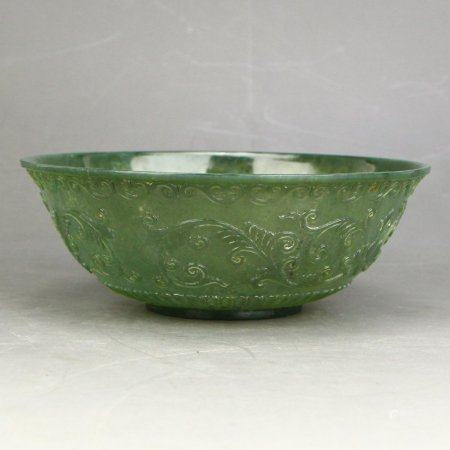 Superb Chinese Low Relief Green Hetian Jade Bowl