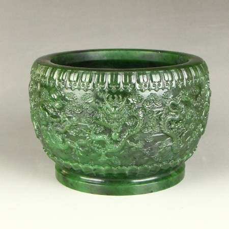 Green Hetian Jade Dragon Cloud Design Brush Washer