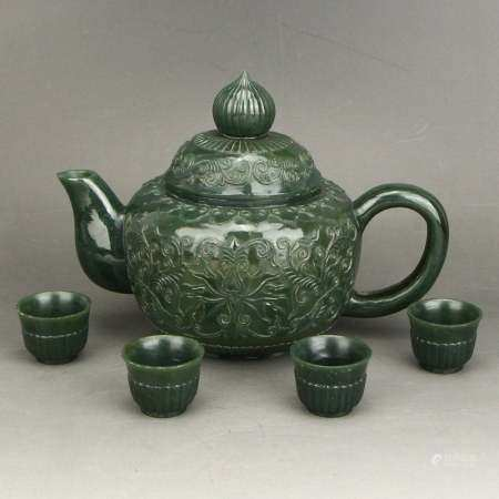 A Set Deep Green Hetian Jade Low Relief Teapot & Cups
