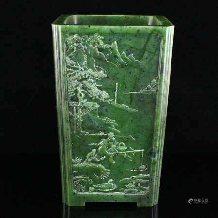 Green Hetian Jade Figures Scenery Square Brush Pot