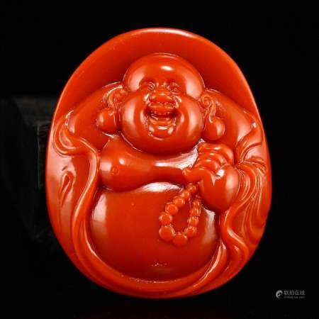 Chinese Natural Nanhong Agate Laughing Buddha Pendant