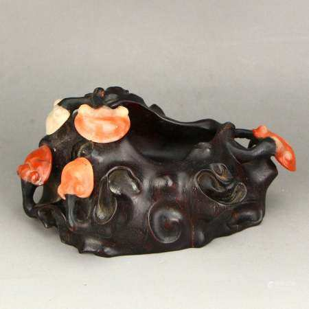 Chinese Zitan Wood Inlay Shoushan Stone Brush Washer