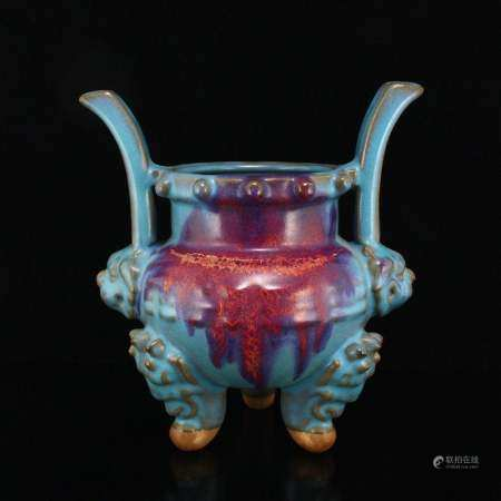 Variable Glaze Jun Kiln Porcelain 3 Legs Incense Burner