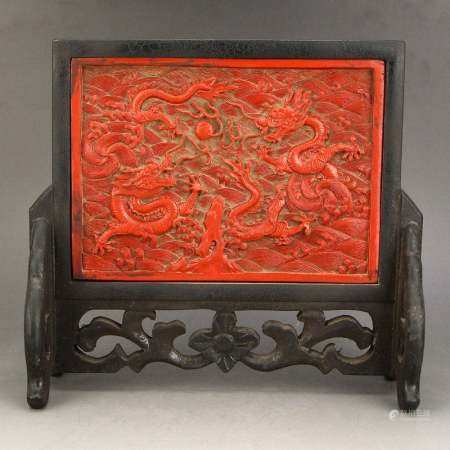 Vintage Chinese Red Lacquerware Low Relief Screen