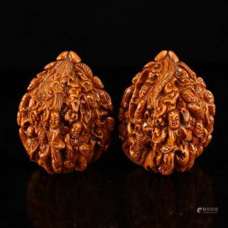 A Pair Hard Carved Chinese Art Walnuts Statue