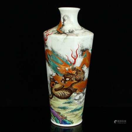 Gilt Gold Famille Rose Double Dragon Porcelain Vase