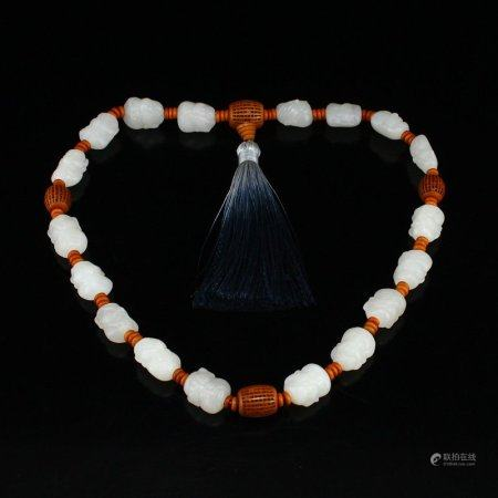 Chinese Natural White Hetian Jade Arhat Beads Bracelet