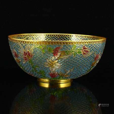 Chinese Gilt Gold Bodiless Cloisonne Flowers Bowl