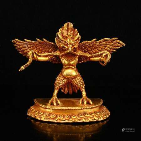 Gilt Gold Red Copper Mythology Bird Statue
