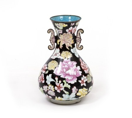 A LATE 20TH CENTURY ORIENTAL ENAMELLED COPPER VASE with floral decoration, 30cm high