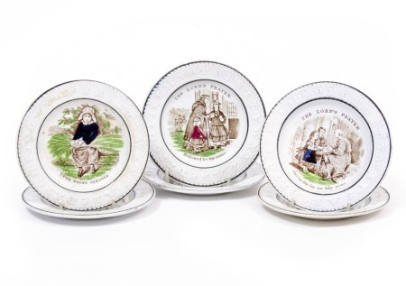 A COLLECTION OF SIX VICTORIAN NURSERY PLATES five with parts of The Lord's Prayer and the sixth