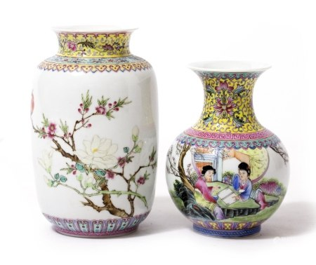 A CHINESE PORCELAIN OVOID VASE depicting an exotic bird perched on a peony branch, 11cm diameter x