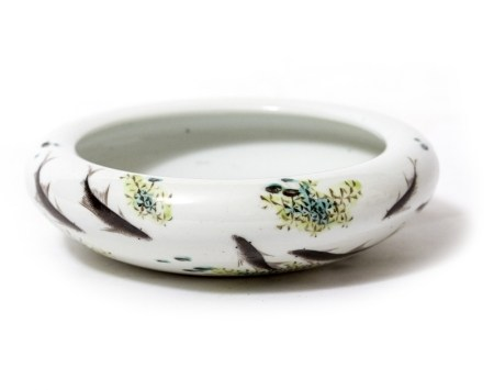 A CHINESE PORCELAIN SMALL BOWL decorated with carp, possibly by Jeng Bishen, 16.5cm diameter