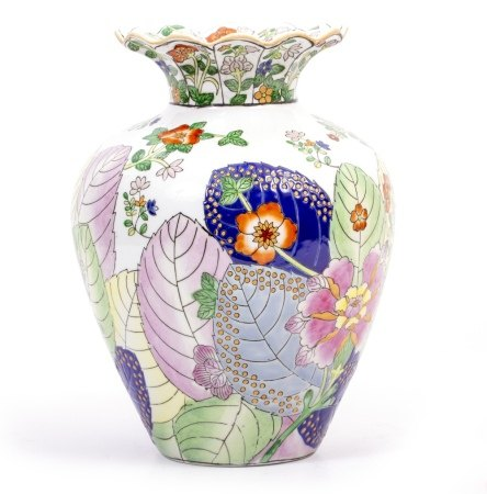 A CONTEMPORARY CHINESE PORCELAIN BALUSTER SHAPED VASE with flaring rim, decorated in the tobacco