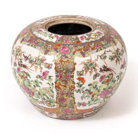 A CHINESE PORCELAIN FAMILLE VERTE OVOID VASE 42cm diameter x 29cm high