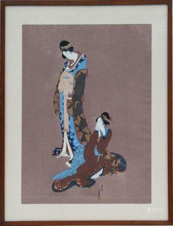 Katsushika Hokusai (Japanese 1760-1849) - Two Beauties - with Kyoto Hanga Institute label to