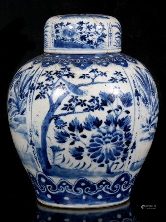 A Chinese blue & white ginger jar decorated with birds and flowers, with four character mark to