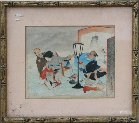 A 19th century Japanese woodblock print depicting figures seated eating fish, signed lower right,