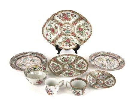 A group of Chinese ceramics to include an 18th century famille rose cup; a famille rose bowl